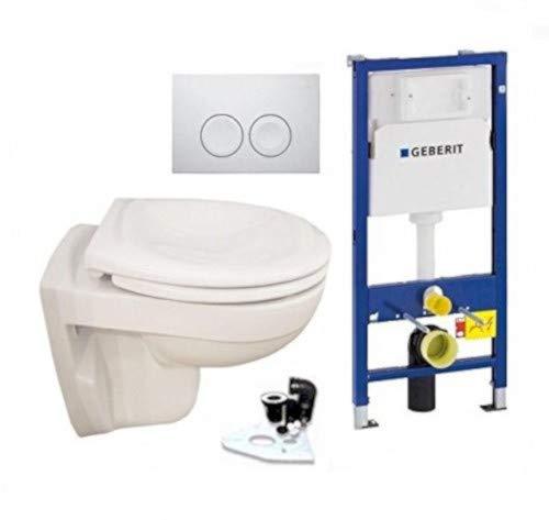 Geberit Duofix Vorwandelement UP 100 + Ideal Standard WC, Spülrandlos mit LotusClean Beschichtung + Absenkautomatik + Delta 21 Drückerplatte + WC Deckel