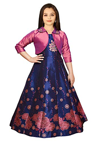 White Button New Digital Printed Art Silk Jacket Style Gown for Girls Maxi Dress (7-8 Years, Pink)