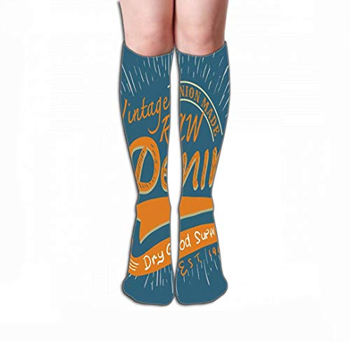 SDFGSE Print Knee High Socks Athletic Over The Calf Tube Typographic Vintage raw Denim Print Design Apparel Poster