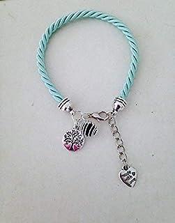 Bracelet à parfumer en soie tissée turquoise avec arbre de vie, bijou, bijoux, bracelet, bracelets femme, bijou arbre de v...