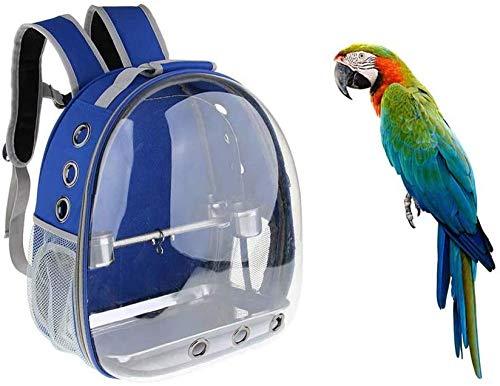 KJDSW Mochila de Viaje para Mascotas al Aire Libre, Jaula Transparente, Loro, Portador de pájaros Impermeable