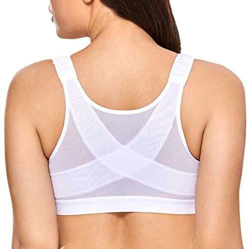 DELIMIRA - Sujetador Corrector de Postura con Soporte de Espalda en X para Mujer Blanco 85E