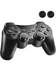 PS3 コントローラー PS3 ワイヤレスコントローラー Bluetooth ワイヤレス ゲームパッド USB ケーブル 振動機能 充電式 アシストキャップ 2枚付き【1年安心保障付き】