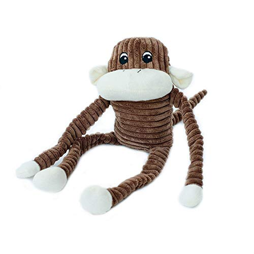 ZippyPaws - Spencer The Crinkle Monkey Dog Toy, Squeaker and Crinkle Plush Toy - Brown, Large