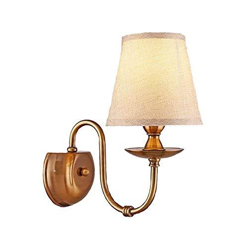Wandlamp - Moderne eenvoud messing wandlamp slaapkamer plug decoratieve lantaarn Sconce, wandlamp bevestiging lampenkap van stof voor wandmontage licht voor slaapkamer Corr