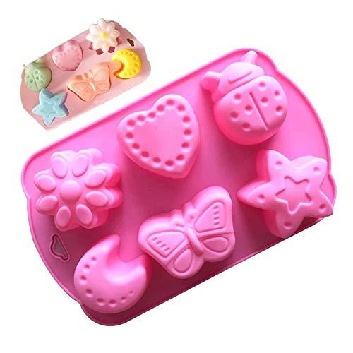 Herramientas de la fabricación de jabón a mano Pies de gato Patrón Pastel de chocolate Molde de silicona sin tóxico Molde de jabón no tóxico 6 Cavidades Accesorios artesanales Moldes de waffle
