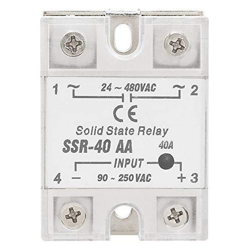 Halbleiterrelais, SSR-40AA 40A AC-AC-Eingang 90-250 V AC-Ausgang 24-480 V AC Halbleiterrelais-Modul LED Kunststoff-Metallrelais