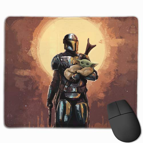 Mand-alorian Baby Yo-da Gaming Mouse Pad with Stitched Edge Non-Slip Waterproof Rubber Base Large MousePads for Laptops Computers and PC