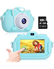 Kids Camera, A-TION Camera for Kids with 3.0 inch IPS Touchscreen, Rechargeable Selfie Camera for Children, Lanyard Hands-free Anti-drop Design Mini Camera with Case, Girls and Boys Toy Gifts, Blue