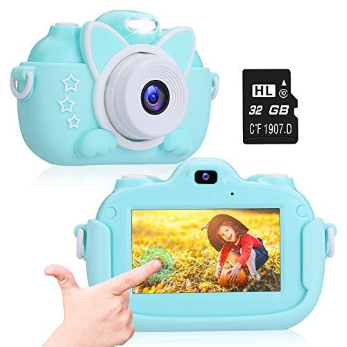 A-TION Cámara para Niños, Pantalla Táctil IPS de 3.0' Cámara de Fotos Digital para Niños 24MP 1080p HD Video Cámara Infantil Juguete para Niños Regalos Cámara con Tarjeta TF de 32GB