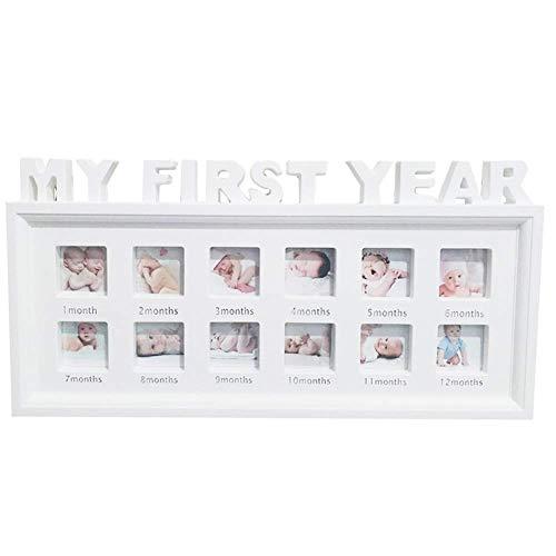 SparY Baby Bilderrahmen, 1-12 Monat Multi-Foto Baby Bilderrahmen - Mein Erstes Jahr Bild Säugling Souvenirs Display - Baby Geburtstag Geschenke Wohndeko - Weiß, Free Size