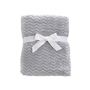 "CREVENT 30""X40"" Cozy Fluffy Warm Fleece Baby Crib Blanket for Unisex Infant Toddler Crib Cot Stroller (Wave Grey)"
