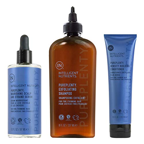 Intelligent Nutrients PurePlenty Haircare Set with Exfoliating Shampoo (8 oz), Density Building Conditioner (4.8 oz) & Nourishing Scalp, Strand Serum (3.3 oz) - Plant Stem Cells for Fine/Thinning Hair