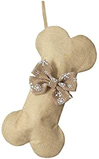NEW Linen Dog Bone Christmas Stockings for Pet Jute Natural Burlap Holidays-16 inches x 8 inches 3# Snow Bowknot (1 pack)