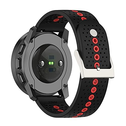 Correas de reloj Sunbose de 22 mm para hombres y mujeres, correa de repuesto de silicona compatible con Galaxy Watch 3 45 mm / Galaxy Watch 46 mm, Huawei GT2 Pro, Ticwatch Pro. (Negro + naranja)