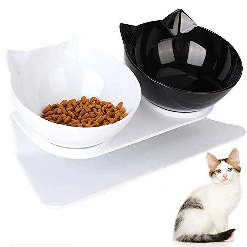 Doppelter Futternapf, VieVogue Futternäpfe Katzenfutter Fressnäpfe für Katzen 15 °Geneigt Doppelt Futternapf Essen Wasser Schüsseln Noir+ Blanc Bols