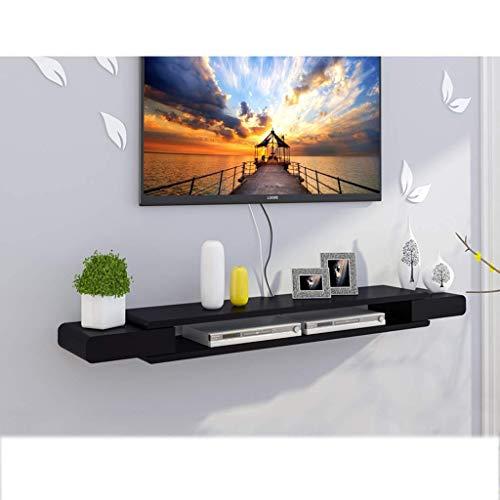 CHOUCHOU Shelves Black Floating Wall Frame TV Cabinet TV Rack Set-top Box Shelf TV Console Storage Unit Organization Frame DVD Rack Cable Box (Size : 130cm),Size:90cm Flower Pot Rack (Size : 130cm)