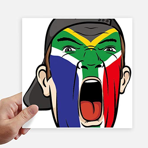 DIYthinker Zuid-Afrika Vlag Facial Make-up Cap Vierkante Stickers 20Cm Wandkoffer Laptop Motobike Decal 4 Stks
