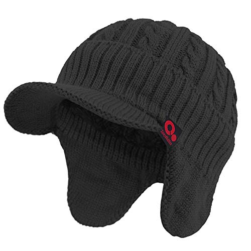 Janey&Rubbins Winter Outdoor Sports Visor Beanie with Earflaps Knit Ski Hat with Brim Fleece Lined Skull Cap (Black)