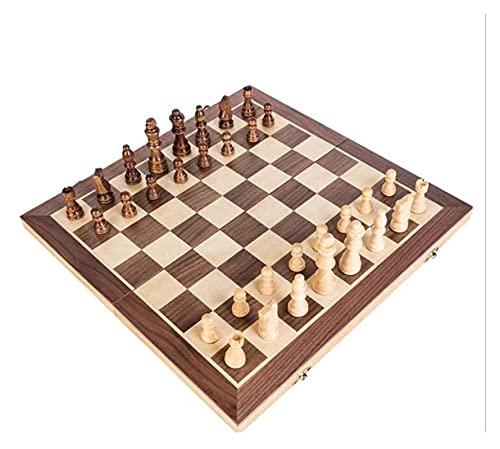Juego de ajedrez Conjunto de ajedrez Plegable Plegable Tablero de ajedrez de Madera Juego de Madera sólido Tablero de ajedrez Juegos de Mesa Regalos (Size : 30x30cm)
