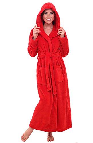 Alexander Del Rossa Women's Plush Fleece Robe with Hood, Warm Bathrobe Large-XL Red (A0116REDXL)