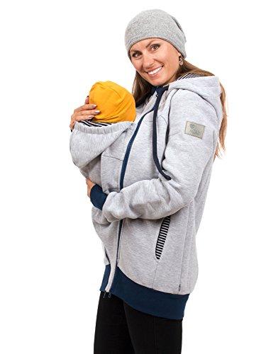 Viva la Mama Baby Tragetuch-Jacke Umstandsmode Jacke für Damen warm Winterjacke schwanger Jacke mit Babytrage - Elliot grau Streifen - L