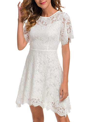 Bridal Shower Dresses Elegant White Eyelash Lace for Women Cocktail Skirts Casual to Wear to a Wedding Semi Formal Short Dresses 943 (XL, White)