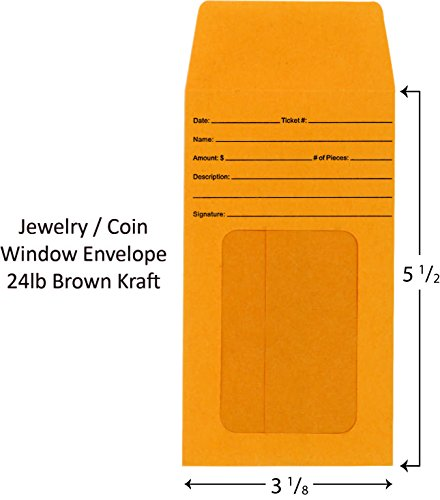 Jewelry Window Envelopes Pack of 100