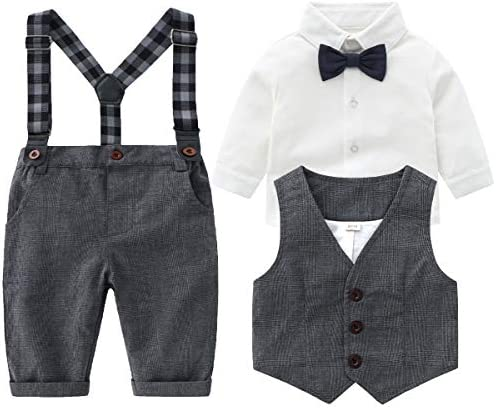 Baby Boys Gentleman Outfits Suits Infant Long Sleeve Shirt Bib Pants Bow Tie Vest Clothes Set product image