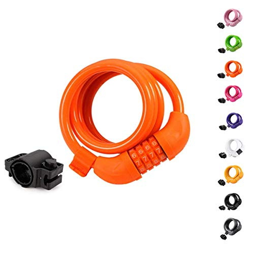 Titanker Bike Lock Cable, 4 Feet Bike Cable Basic Self Coiling Resettable Combination Cable Bike Locks with Complimentary Mounting Bracket, 4 Feet x 1/2 Inch (Orange)