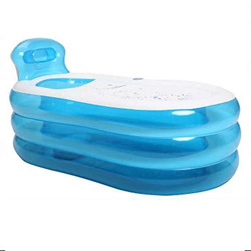 LEGOUGOU Dubbele Opblaasbare Badkuip Dikke Thuis Koppels Badkuip Volwassen Opvouwbare Badkuip Grote Badkuipen Kan Liggende Voeten Pomp PVC Materiaal Blauw bubbelbad
