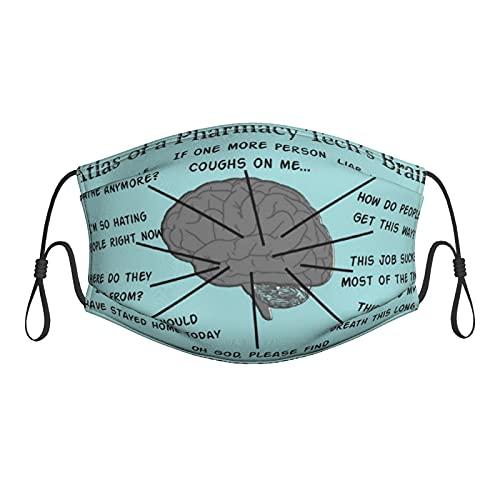 Lesif Atlas of Pharmacy Tech Brain Face M-Ask - Máscara de tela reutilizable con filtros transpirable ajustable para adultos y hombres