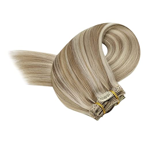 Sunny Clip Extension Cheveux Bresilien Naturel Blond Highlight Tête Pleine 7pcs/120g Double Trame Clip in Human Hair Extensions Cheveux Humains 22 Pou