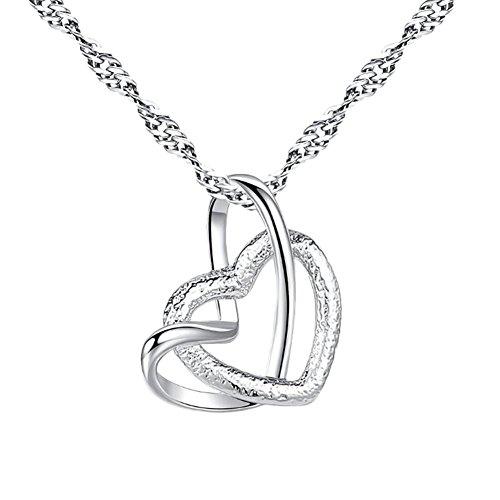 BIGBOBA Moda Collana Doppio Strato Cuore Pendente con Cristallo collane Orecchini Set,Argento,46cm (Doppio Cuore)