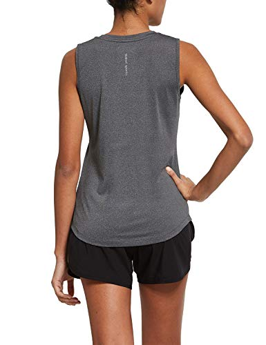 BALEAF Women's Workout Tank Tops Sleeveless Running Atnletic Shirts Activewear Gym Tops Gray Size M