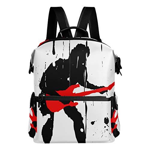 KIMDFACE Mochila,Grunge Rock Guitar Player Pintura Negra,Bolsos para portátil Bolso de Hombro con Estampado Informal Estudiantes universitarios Viajes Senderismo Paquetes de Camping(29 * 16 * 38 cm)