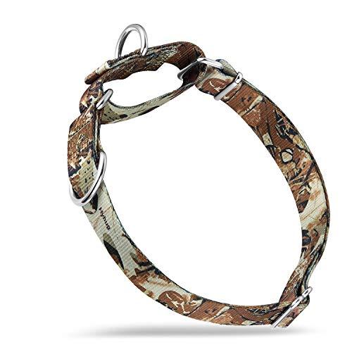 Hyhug Hundehalsband mit Doppel-Ringen, robustes Polyester, verbessertes Anti-Flucht-Martingal-Halsband für Hunde, groß, Waldtarnfarben