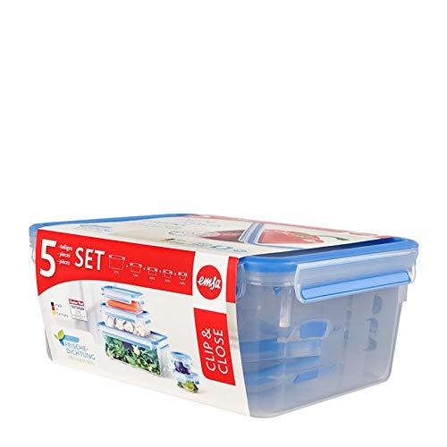 emsa Frischhaltedose CLIP & CLOSE, 5er Set, 0,15-3,70 L, Sie erhalten 1 Packung, Packungsinhalt: 5 er Set