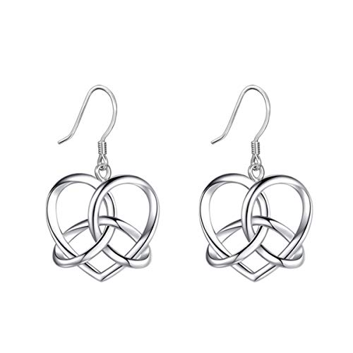 LOOVE Celtic NecklaceTriquetra Pendant Celtic Heart Love Knot Earrings Sterling Silver Good Luck Jewelry for Her Women Girl
