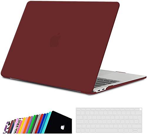 iNeseon Funda para 2020/2019/2018 MacBook Air 13 Retina, Protectora Rígida Carcasa y Cubierta del Teclado para MacBook Air 13 Pulgadas A2337(M1)/ A2179/ A1932 con Touch ID, Vino Rojo