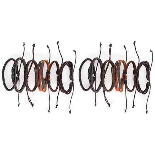 SALUTUYA Pulsera de 2 Juegos, Pulsera grabada de Acero Inoxidable de Cuero PU para Hombres y Mujeres