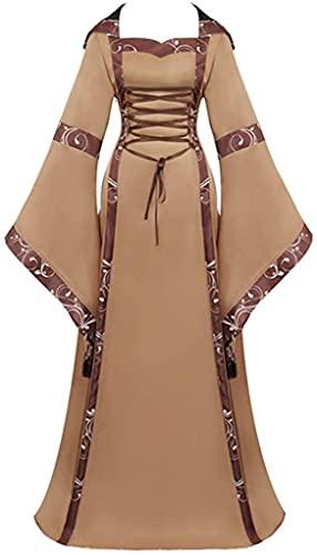 Medieval longitud del piso renacentista traje gtico cosplay vintage vestido celta, Marrn, XX-Large