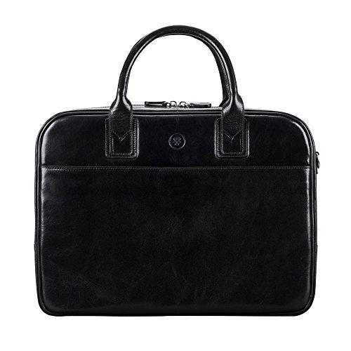 Maxwell-Scott Luxus Herren Leder Businesstasche Calvino in Schwarz