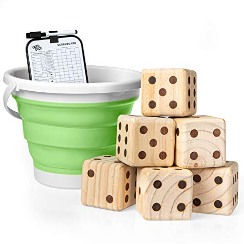 Play Platoon Yardzee Outdoor Game with Bucket - Giant Wooden Yard Dice Includes 6 Lawn Dice, Collapsible Bucket, Score Cards & Dry Erase Marker