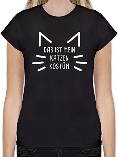 Karneval & Fasching - Das ist Mein Katzen Kostüm - M - Schwarz - l191_Shirt_Damen - L191 - Tailliertes Tshirt für Damen und Frauen T-Shirt