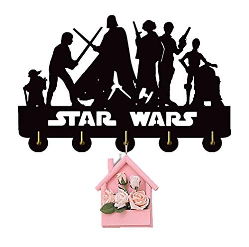 Star Wars Key Rack Holder Key Hanger Wall Hanger Wall Hook with 5 Metal Hooks Personalized Gift Home Housewarming Gift Wall Hook Indoor Wall Art Decor for Star Wars Lovers S4