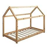 FineBuy Lit d'enfant Forme Maison Bois Massif de pin avec sommier à Lattes 160 x 80 cm | Lit pour...