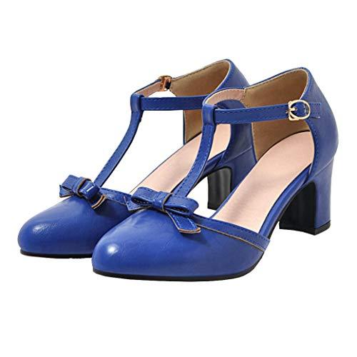 Femany Damen T Spangen Pumps mit Blockabsatz und Riemchen Schleife 6cm Absatz Schuhe (Blau,40)