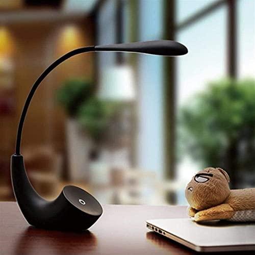 Rnwen Lámpara de Mesa LED Creativa, Divertida y de diseño Minimalista con Cuerpo Flexible de 360 Grados para el Dormitorio con Puerto de Carga USB, den, Negro