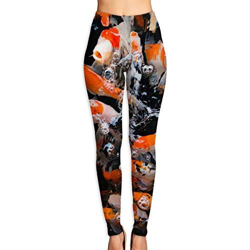 JJsister Pantalones de Yoga, Women's Japan Fancy Koi Carp Fishes Printed Leggings Full-Length Yoga Workout Leggings Pants Soft Capri